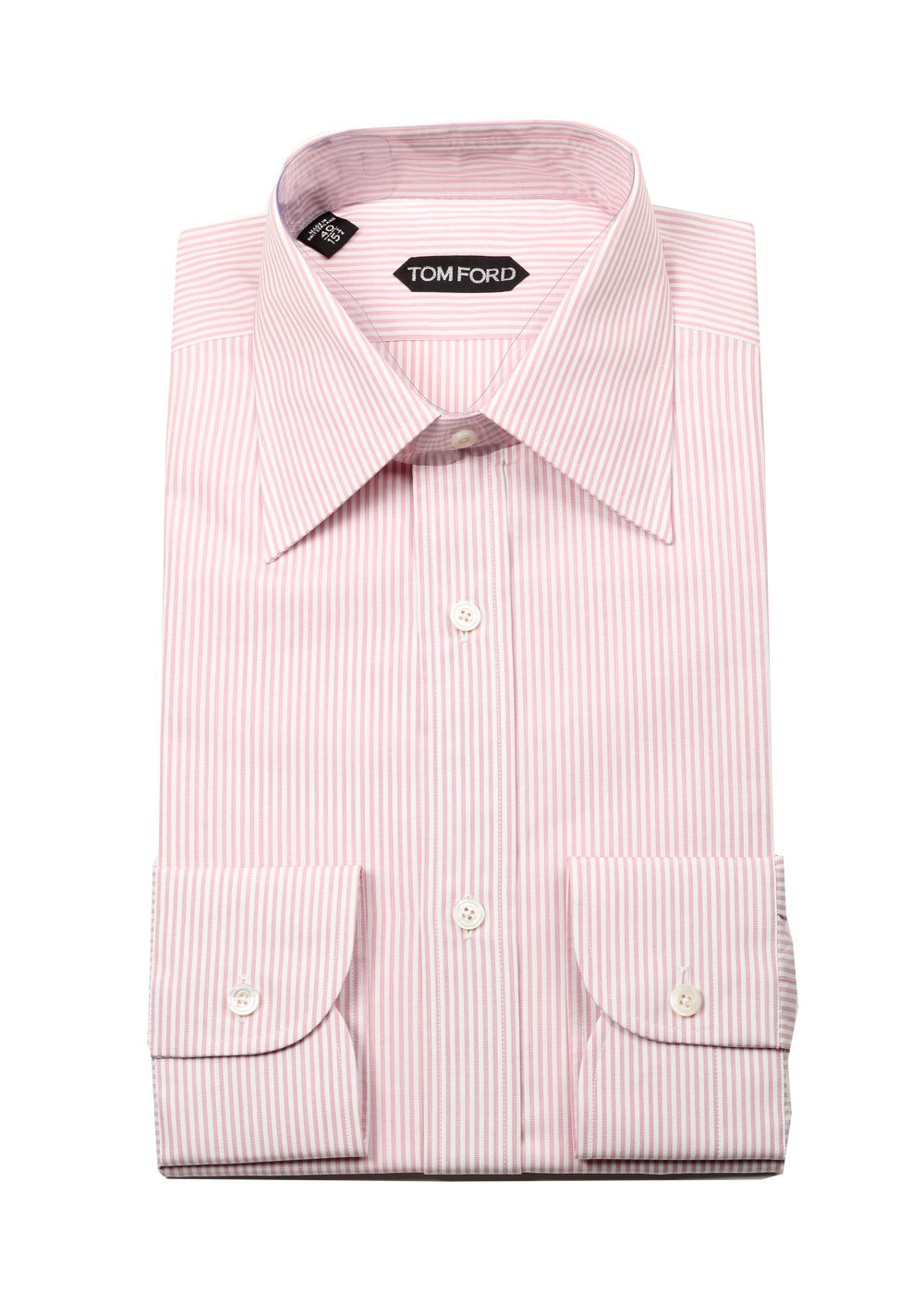 Tom ford striped white pink dress shirt size 40 15 75 u for Size 15 dress shirt