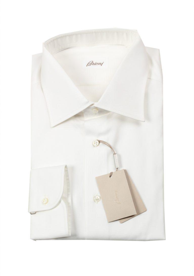 Brioni Solid White Shirt Size 45 / 17.75 U.S. - thumbnail | Costume Limité