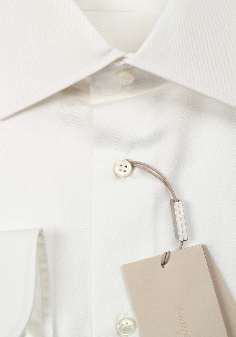 Brioni Solid White Shirt Size 45 / 17.75 U.S. | Costume Limité