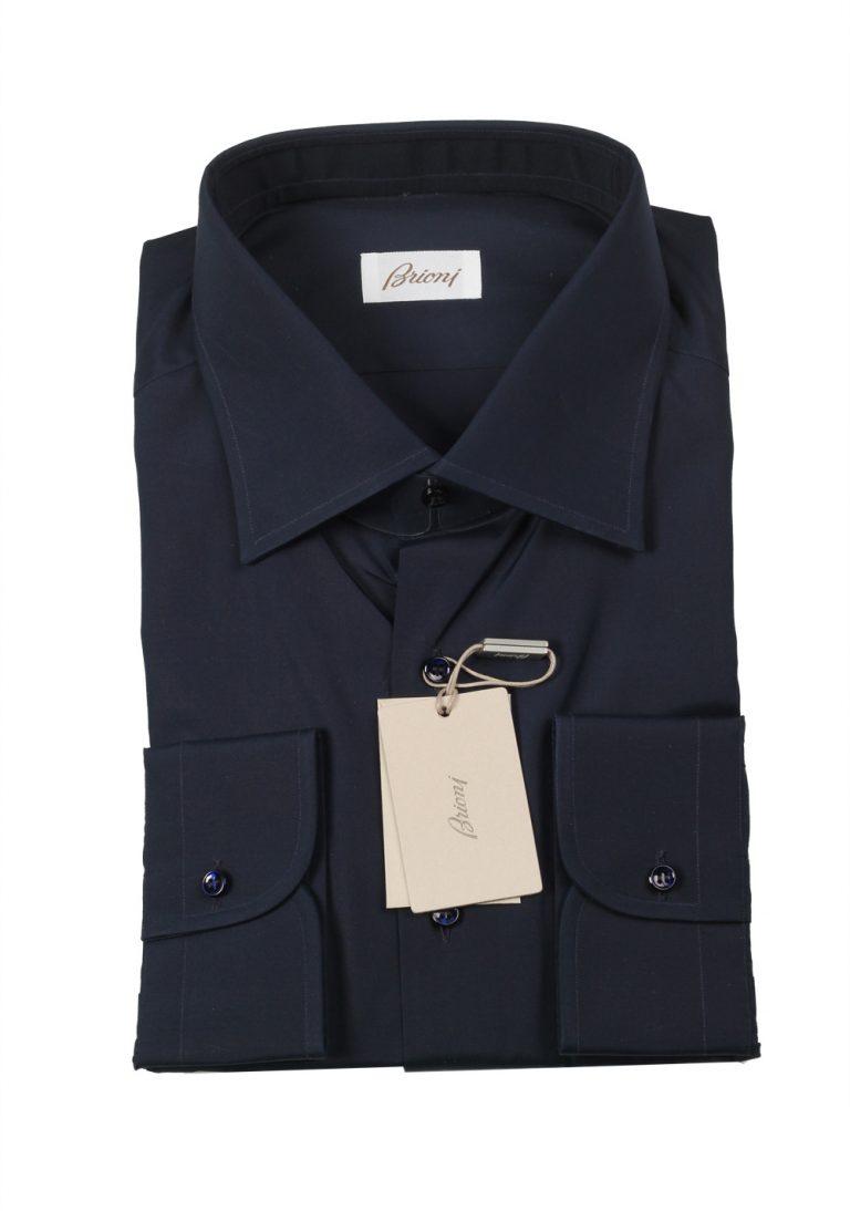 Brioni Solid Navy Shirt Size 45 / 17.75 U.S. - thumbnail | Costume Limité