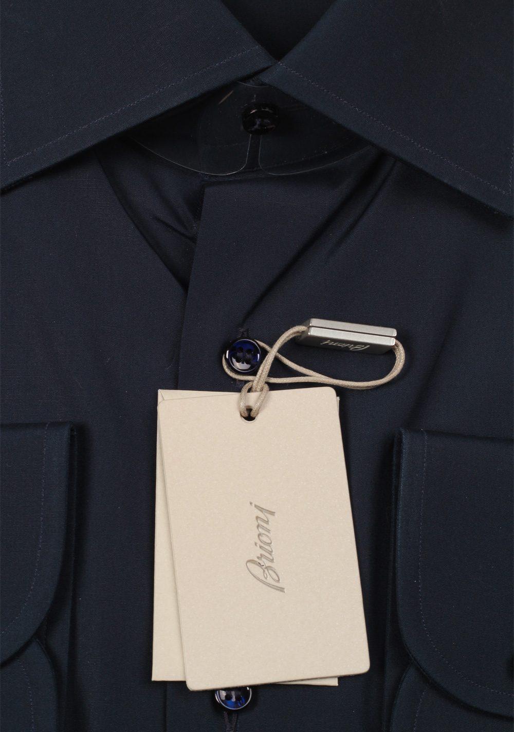 Brioni Solid Navy Shirt Size 45 / 17.75 U.S. | Costume Limité