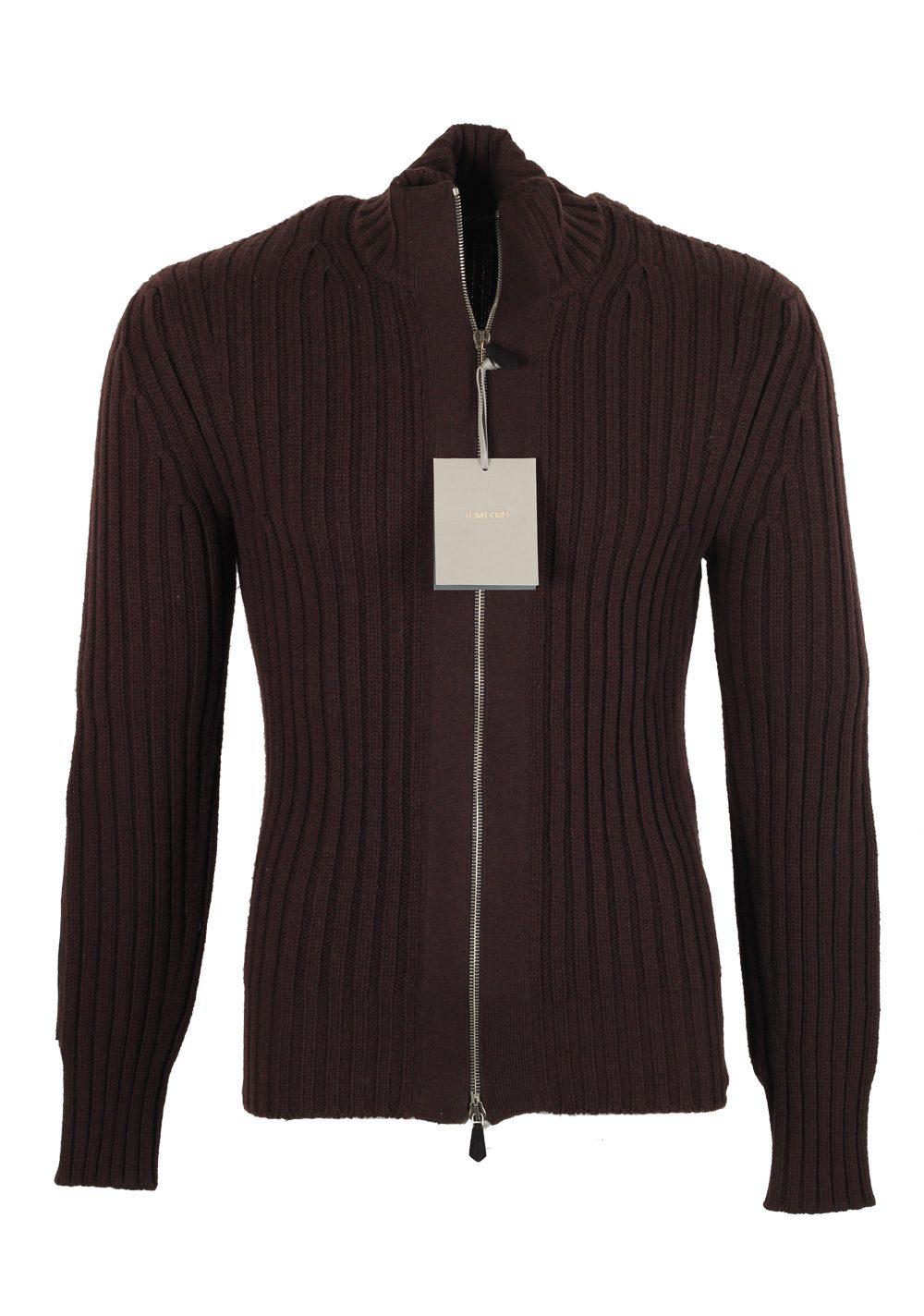 FORD Brown Zipper Cardigan Size 48 / 38R U.S. Wool Cashmere ...
