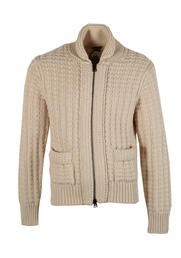TOM FORD Beige Zipper Cardigan Size Medium / 40R U.S. Cotton Cashmere - thumbnail | Costume Limité