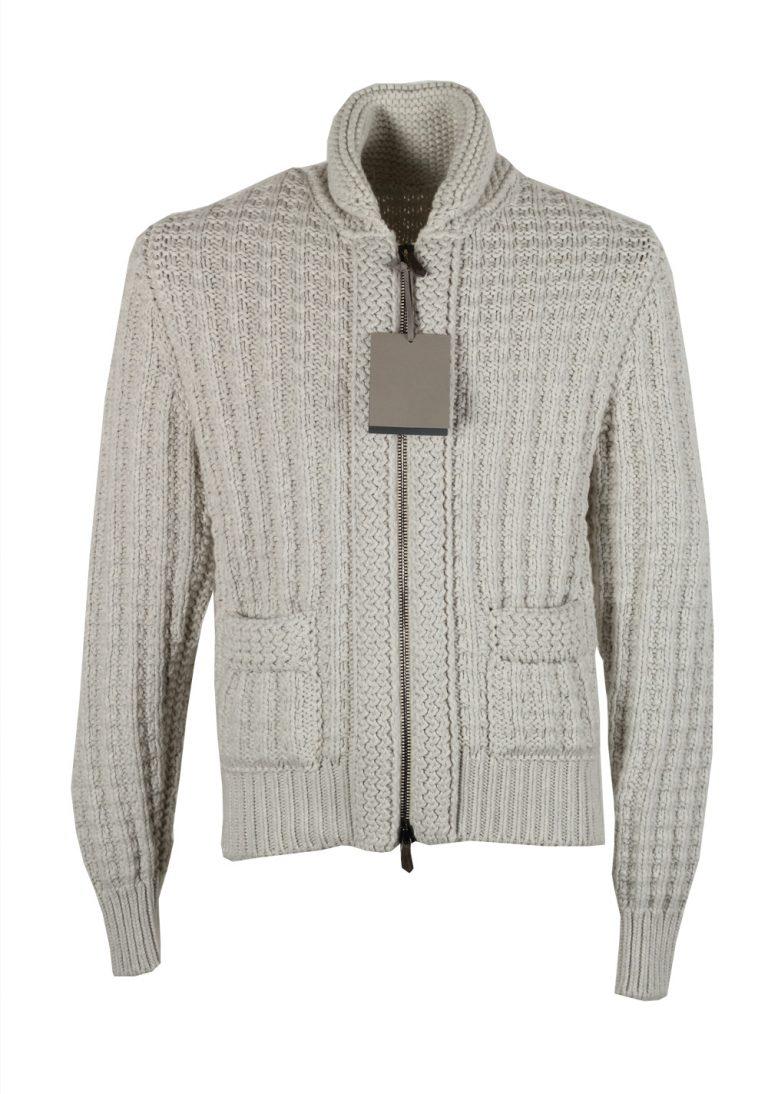 TOM FORD Gray Zipper Cardigan Size Small / 38R U.S. Cotton Cashmere - thumbnail | Costume Limité