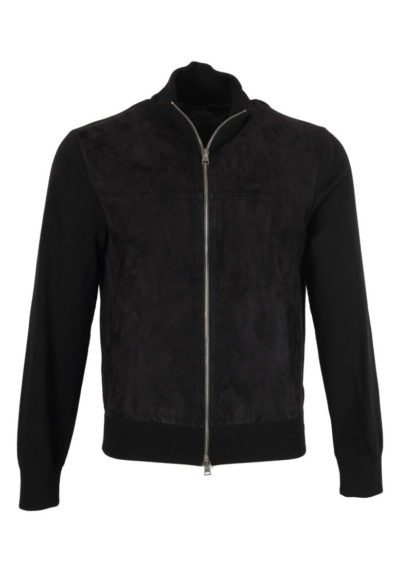 TOM FORD Black Suede Zipper Cardigan Size 48 / 38R U.S. In Wool - thumbnail | Costume Limité