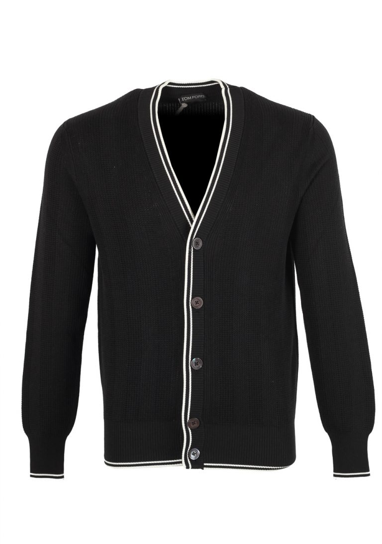 TOM FORD Black Button Cardigan Size 48 / 38R U.S. In Silk Cotton - thumbnail | Costume Limité
