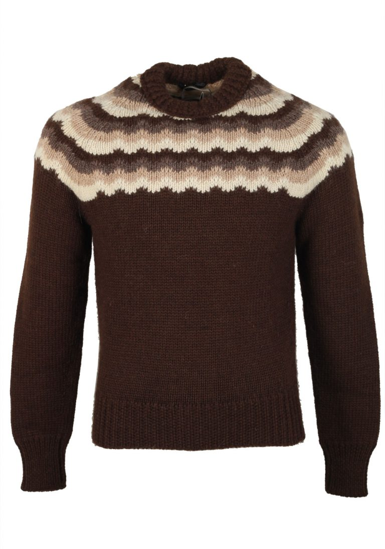 TOM FORD Brown Crew Neck Sweater Size 48 / 38R U.S. In Wool - thumbnail | Costume Limité