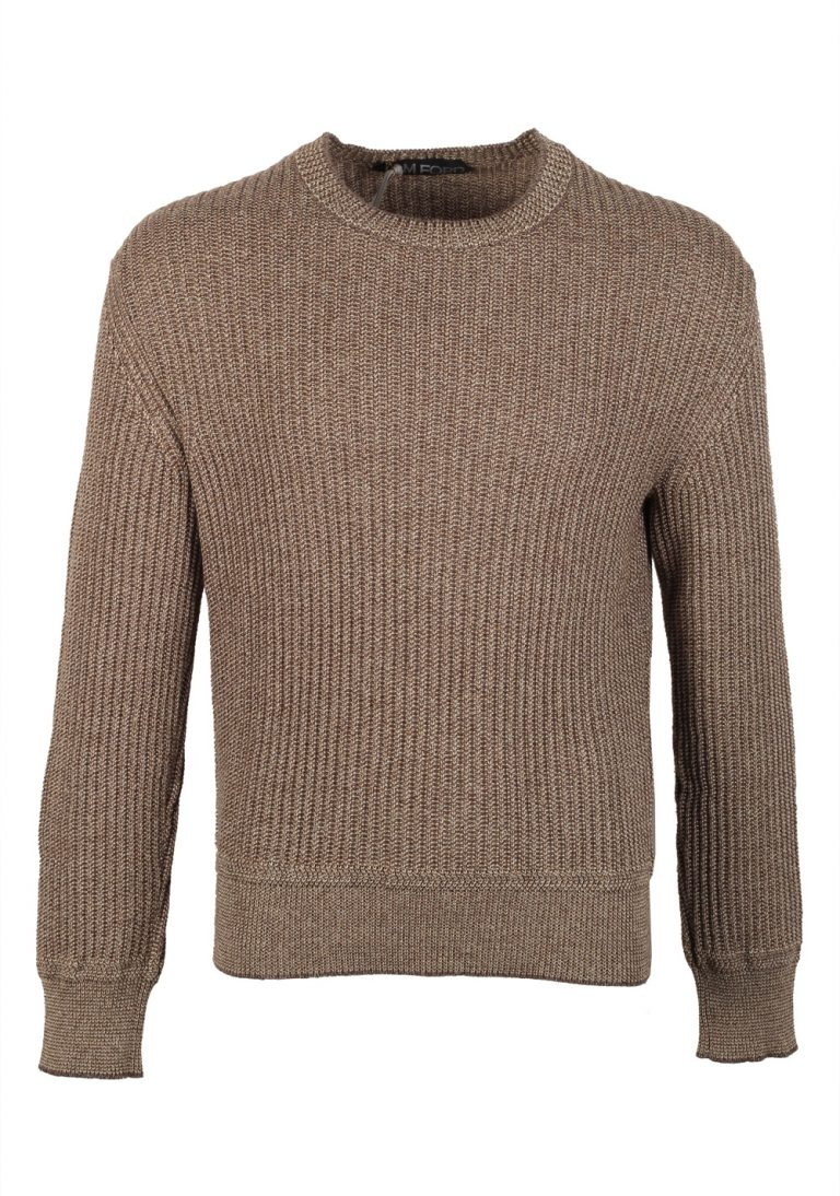 TOM FORD Brown Crew Neck Sweater Size 48 / 38R U.S. In Cotton Cashmere Linen - thumbnail | Costume Limité