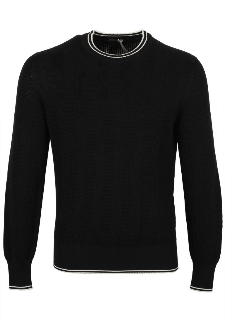 TOM FORD Black Crew Neck Sweater Size 48 / 38R U.S. In Silk Cotton - thumbnail | Costume Limité