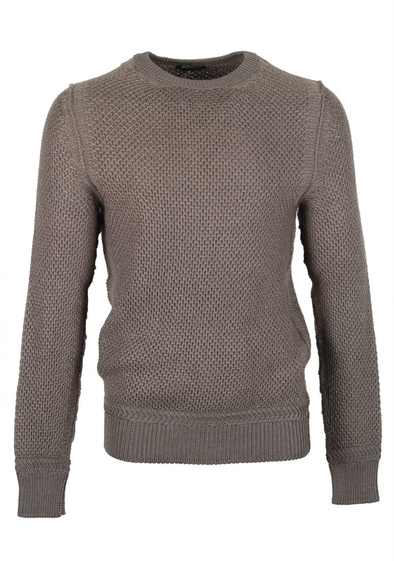 TOM FORD Brown Crew Neck Sweater Size 48 / 38R U.S. In Silk - thumbnail | Costume Limité