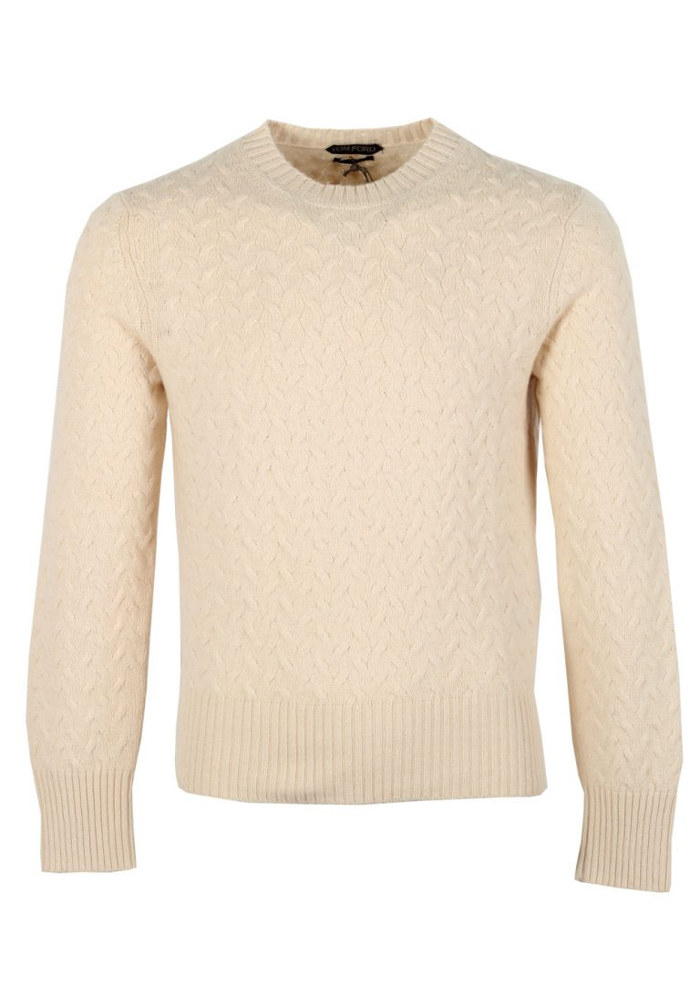 TOM FORD Off White Crew Neck Sweater Size 48 / 38R U.S. In Cotton Cashmere - thumbnail | Costume Limité