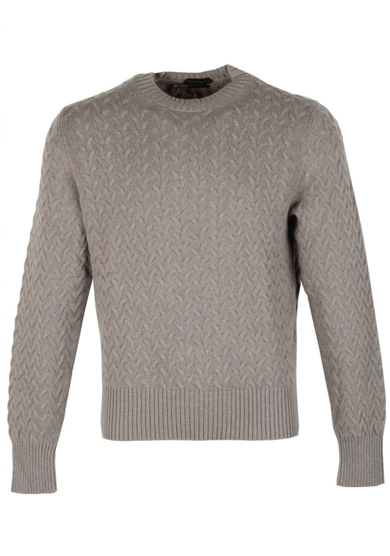 TOM FORD Grayish Beige Crew Neck Sweater Size 48 / 38R U.S. In Cotton Cashmere - thumbnail | Costume Limité