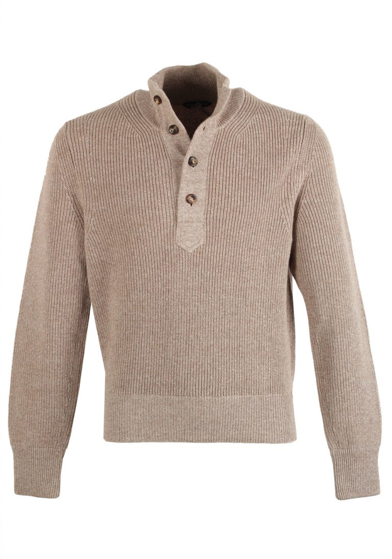 TOM FORD Beige Funnel Collar Half Button Sweater Size 48 / 38R U.S. In Wool - thumbnail | Costume Limité