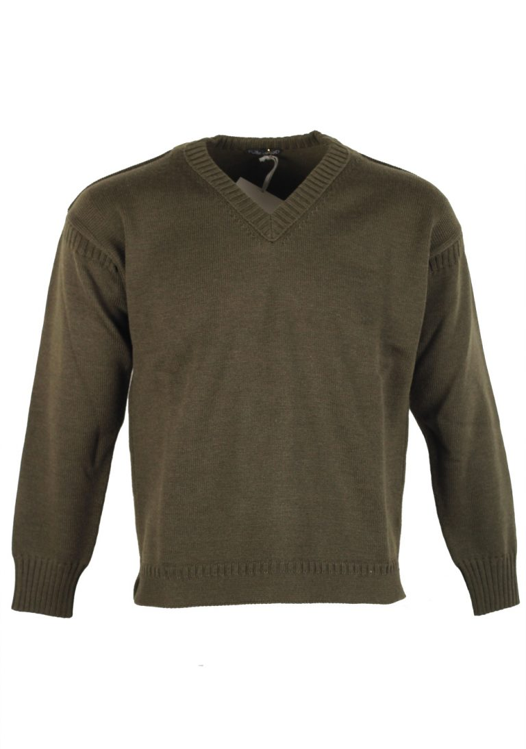 TOM FORD Green V Neck Sweater Size 48 / 38R U.S. In Wool - thumbnail | Costume Limité