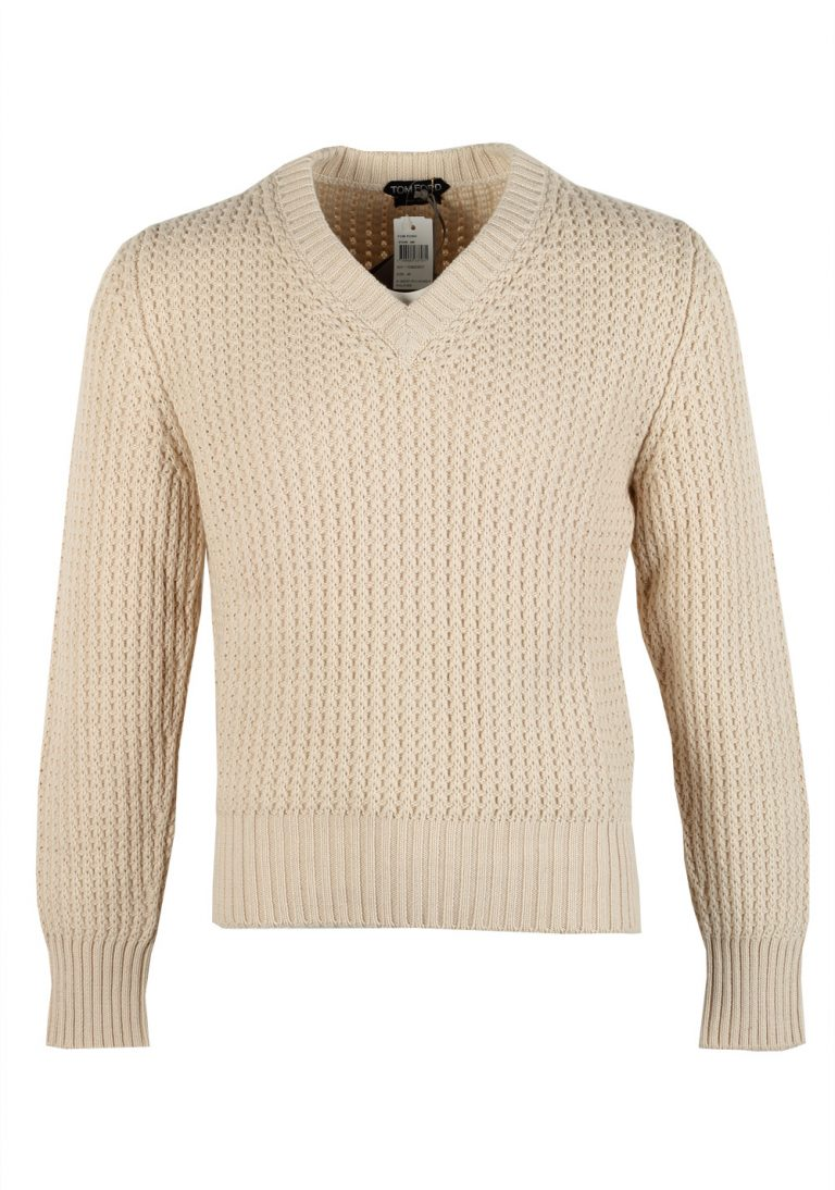 TOM FORD Off White V Neck Sweater Size 48 / 38R U.S. In Cotton Cashmere - thumbnail | Costume Limité