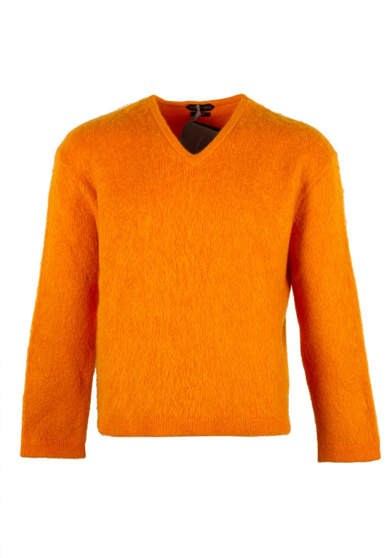 TOM FORD Orange V Neck Sweater Size 48 / 38R U.S. In Mohair Blend - thumbnail | Costume Limité