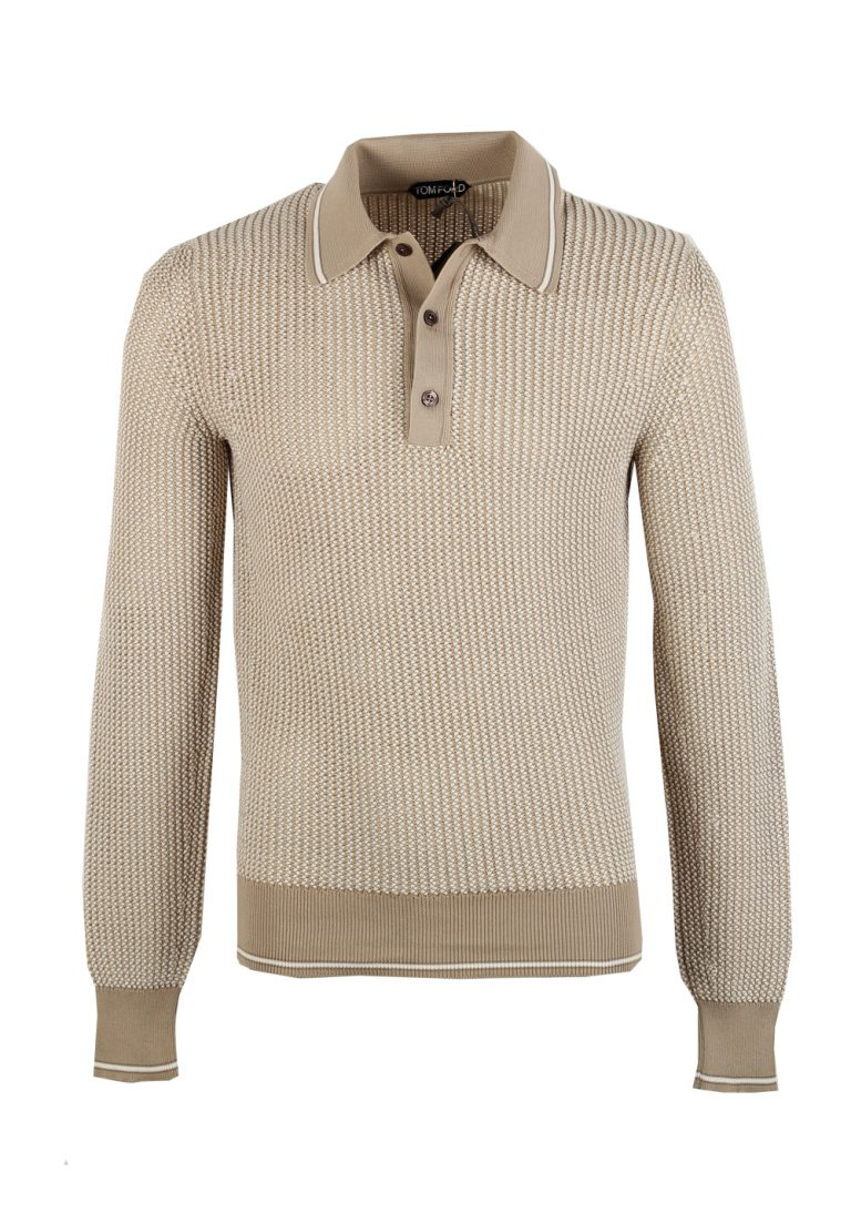 TOM FORD Beige Long Sleeven Polo Sweater Size 48 / 38R U.S. In Silk Blend - thumbnail | Costume Limité