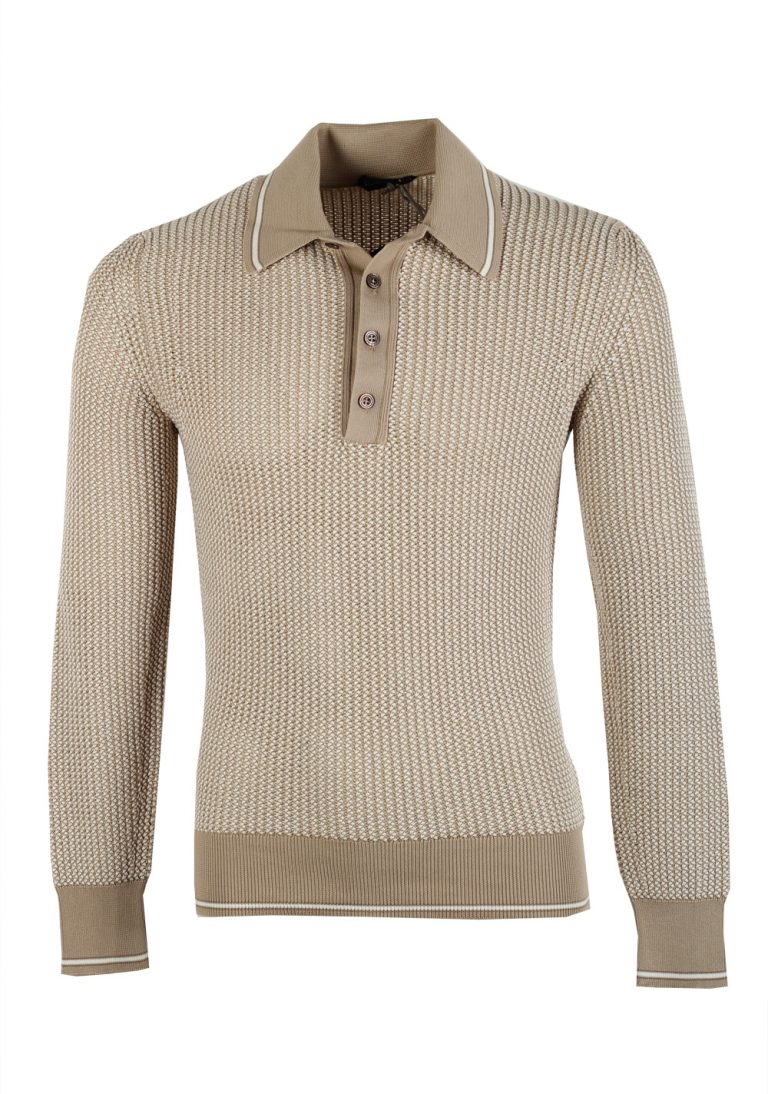 TOM FORD Beige Long Sleeve Polo Sweater Size 48 / 38R U.S. In Silk Blend - thumbnail | Costume Limité