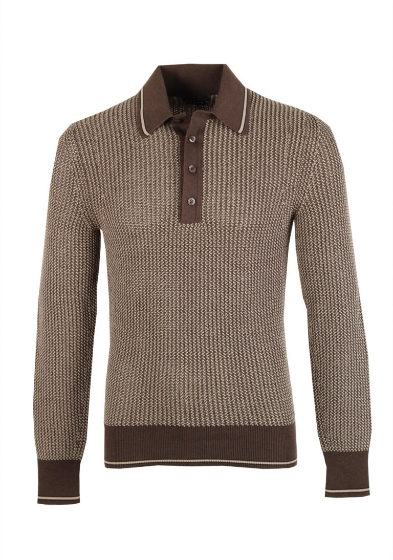 TOM FORD Brown Long Sleeve Polo Sweater Size 48 / 38R U.S. In Silk Blend - thumbnail | Costume Limité