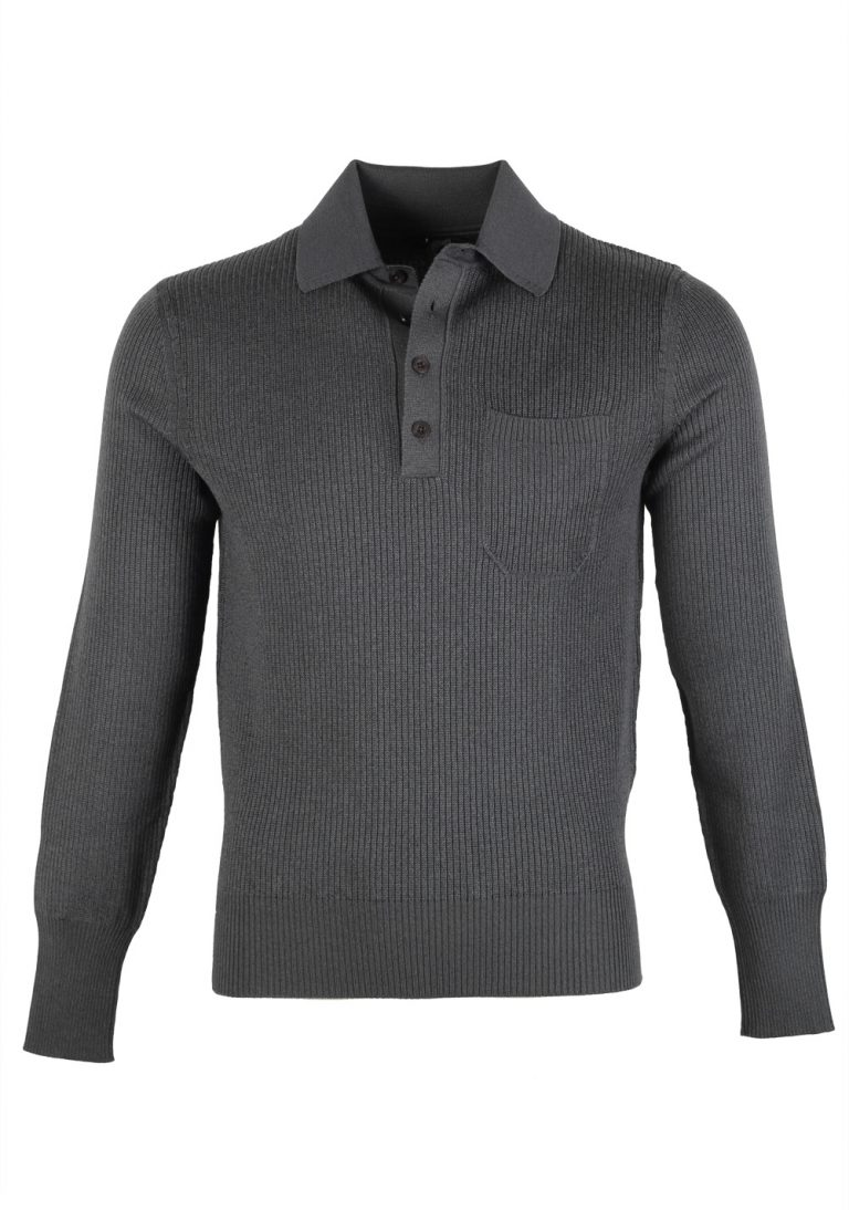 TOM FORD Gray Long Sleeve Polo Sweater Size 48 / 38R U.S. In Cotton Blend - thumbnail | Costume Limité