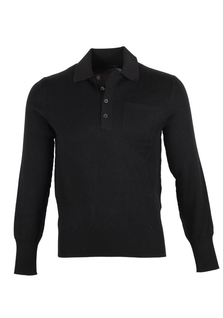 TOM FORD Black Long Sleeve Polo Sweater Size 48 / 38R U.S. In Cotton Blend - thumbnail | Costume Limité