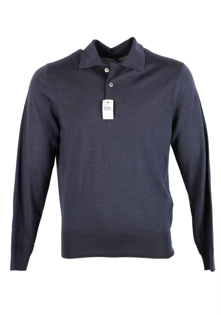 TOM FORD Blue Long Sleeve Polo Sweater Size 48 / 38R U.S. In Cashmere Silk - thumbnail | Costume Limité