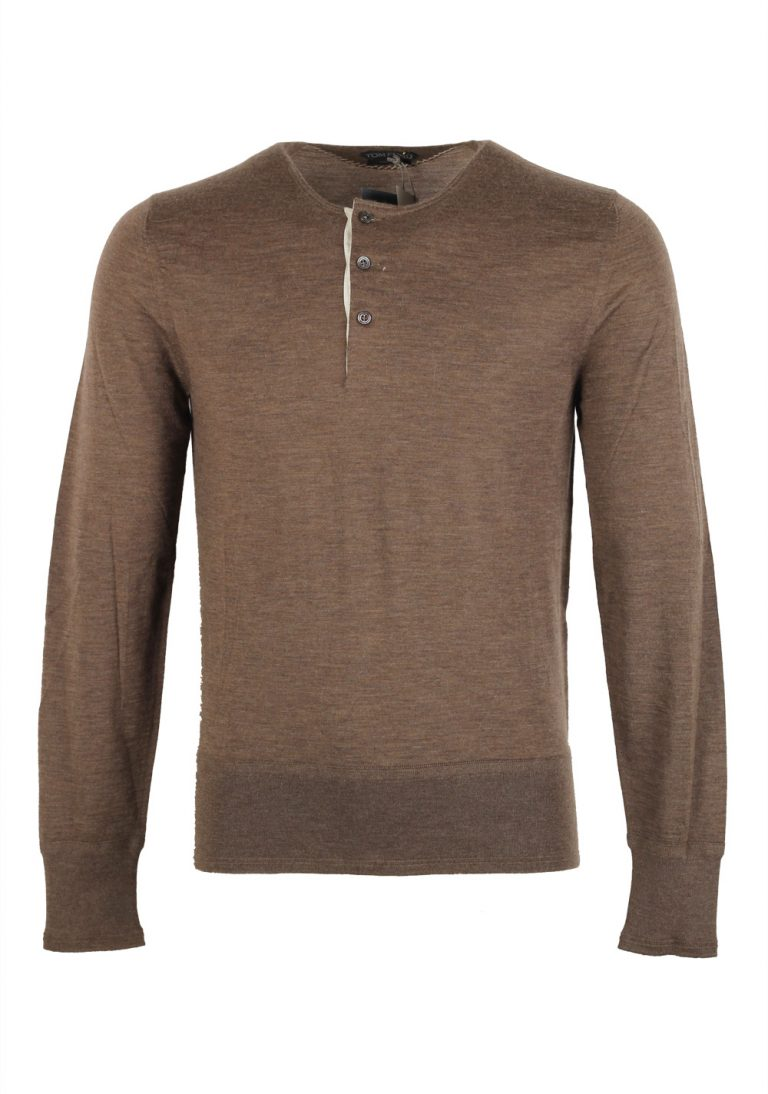 TOM FORD Brown Long Sleeve Henley Sweater Size 48 / 38R U.S. In Cashmere - thumbnail | Costume Limité