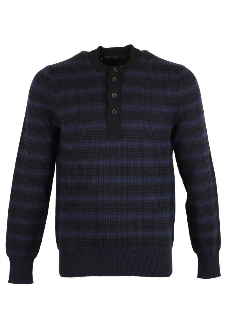 TOM FORD Black Blue Long Sleeve Henley Sweater Size 48 / 38R U.S. In Silk Blend - thumbnail | Costume Limité