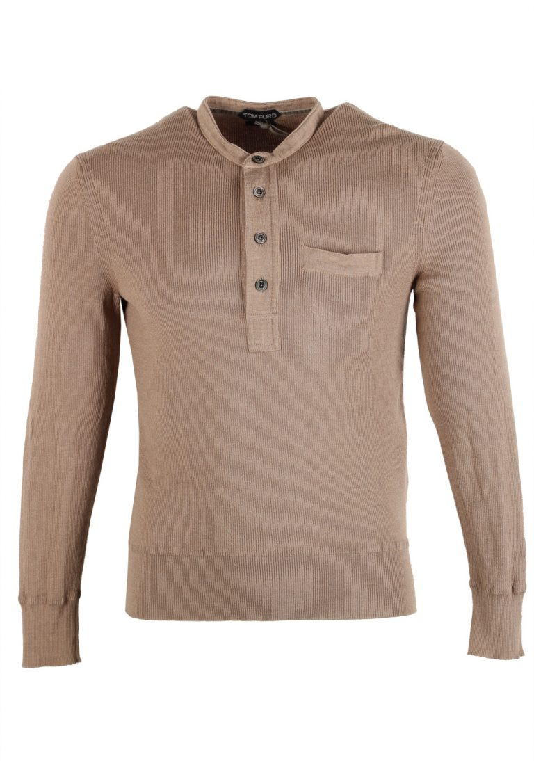 TOM FORD Brown Long Sleeve Henley Sweater Size 48 / 38R U.S. In Silk Blend - thumbnail | Costume Limité
