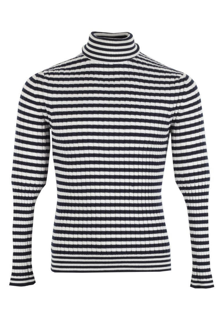 TOM FORD Blue White Turtleneck Sweater Size 48 / 38R U.S. In Cashmere Blend - thumbnail | Costume Limité