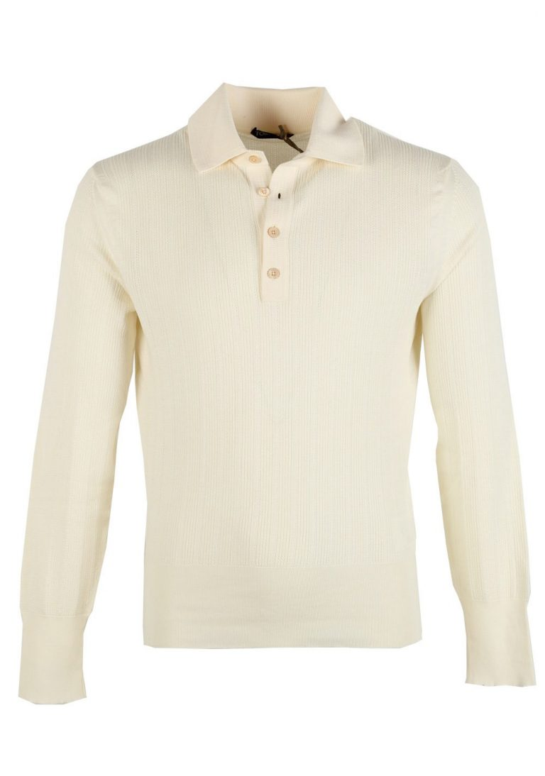 TOM FORD Off White Long Sleeve Polo Sweater Size 48 / 38R U.S. In Cotton - thumbnail | Costume Limité