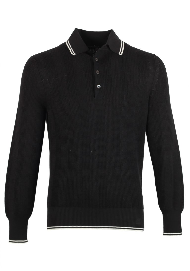 TOM FORD Black Long Sleeve Polo Sweater Size 48 / 38R U.S. In Silk Blend - thumbnail | Costume Limité
