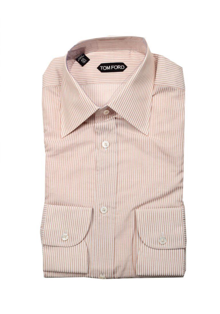 TOM FORD Striped White Brown Dress Shirt Size 40 / 15,75 U.S. - thumbnail | Costume Limité