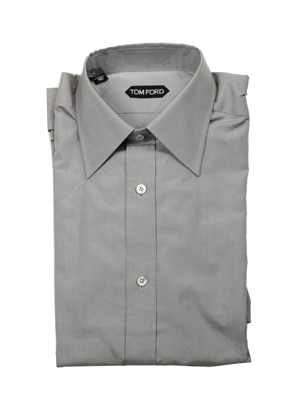 Tom ford solid gray dress shirt size 40 15 75 u s for Size 15 dress shirt