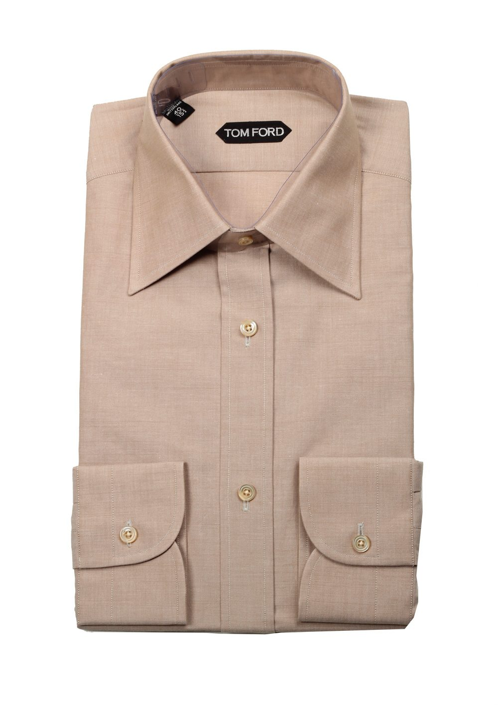 Tom ford solid beige dress shirt size 40 15 75 u s for Size 15 dress shirt