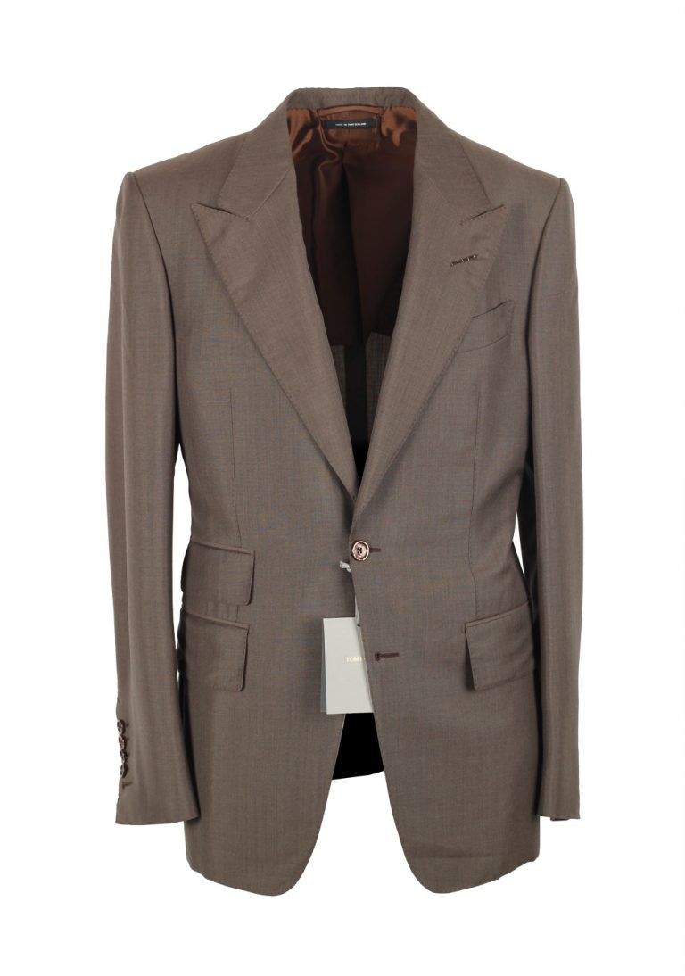 TOM FORD Shelton Brown Suit Size 46 / 36R U.S. In Mohair Wool - thumbnail | Costume Limité