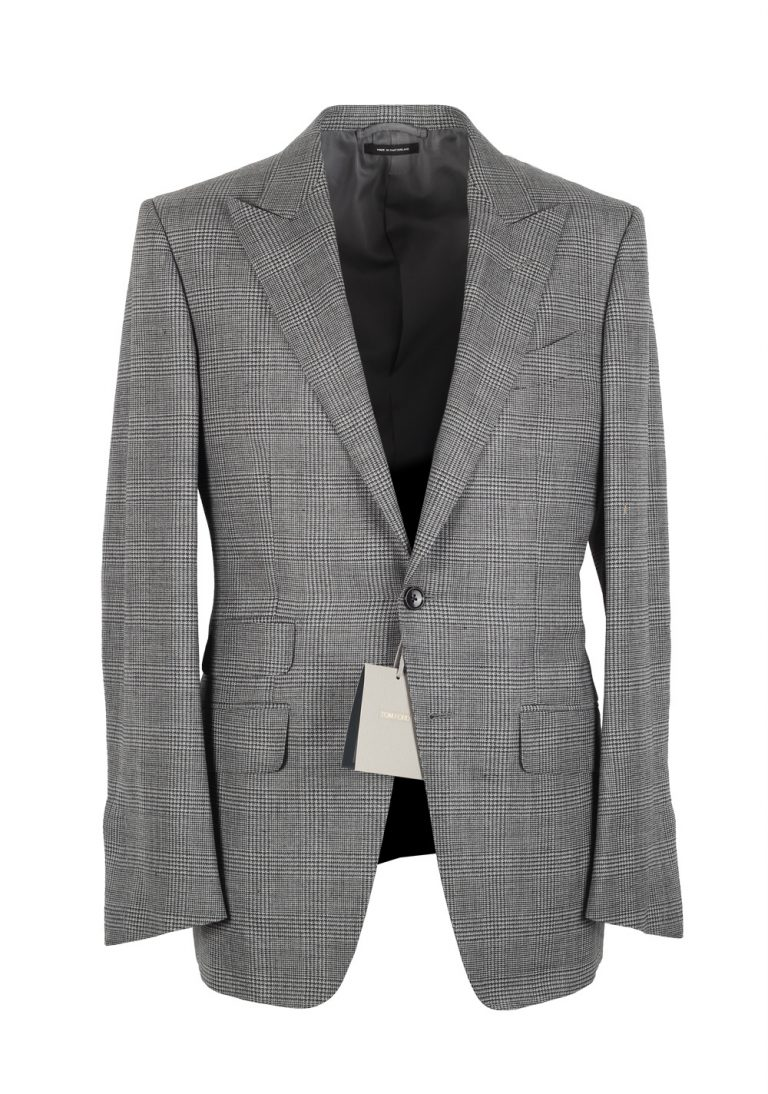 TOM FORD O'Connor Gray Checked Suit Size 46 / 36R U.S. Fit Y - thumbnail | Costume Limité