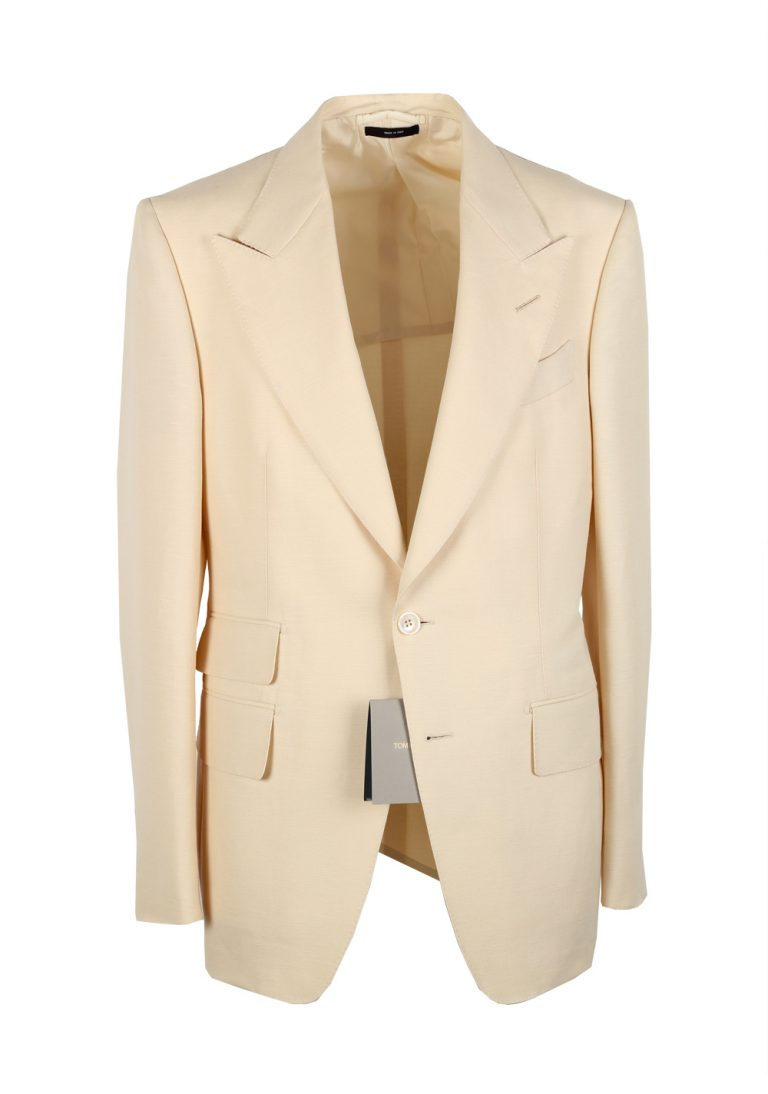 TOM FORD Shelton Cream Suit Size 48 / 38R U.S. In Wool Linen Mohair - thumbnail | Costume Limité