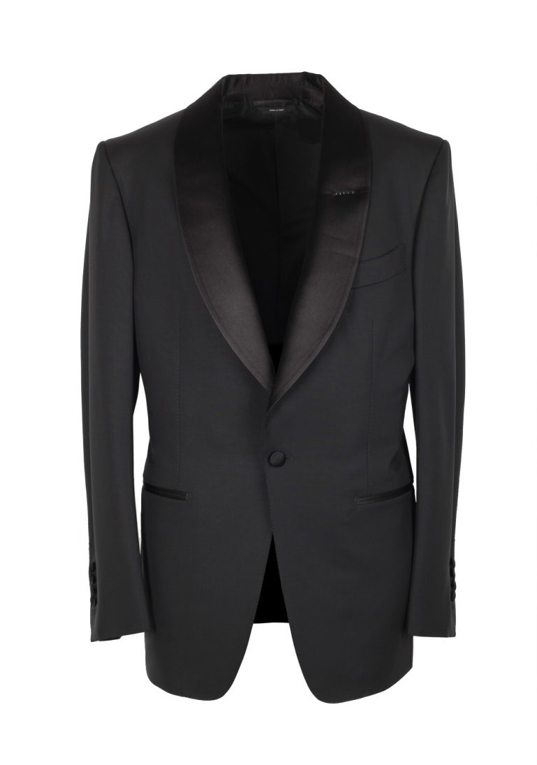 TOM FORD Windsor Shawl Collar Black Tuxedo Suit Smoking Size 48 / 38R U.S. Fit A - thumbnail | Costume Limité