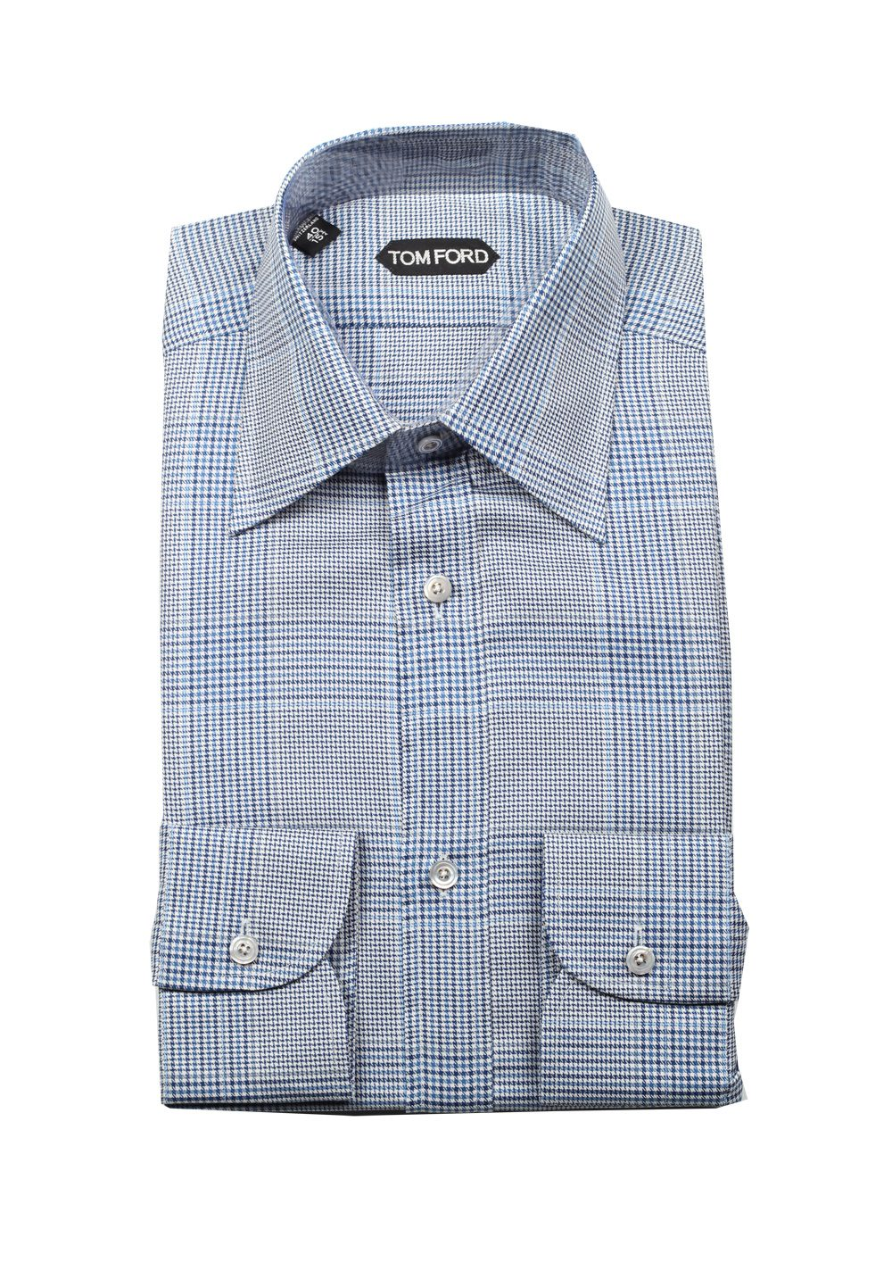 Tom ford checked white blue dress shirt size 40 15 75 u for Size 15 dress shirt