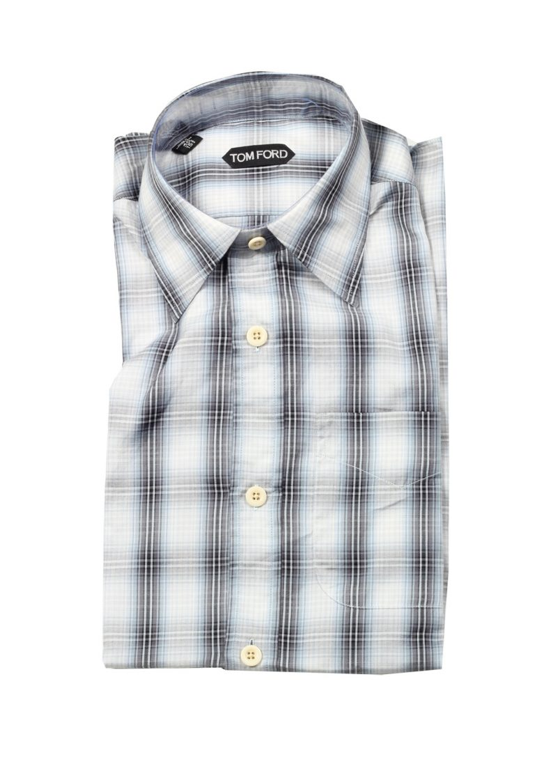 TOM FORD Checked White Blue Dress Shirt Size 40 / 15,75 U.S. - thumbnail | Costume Limité