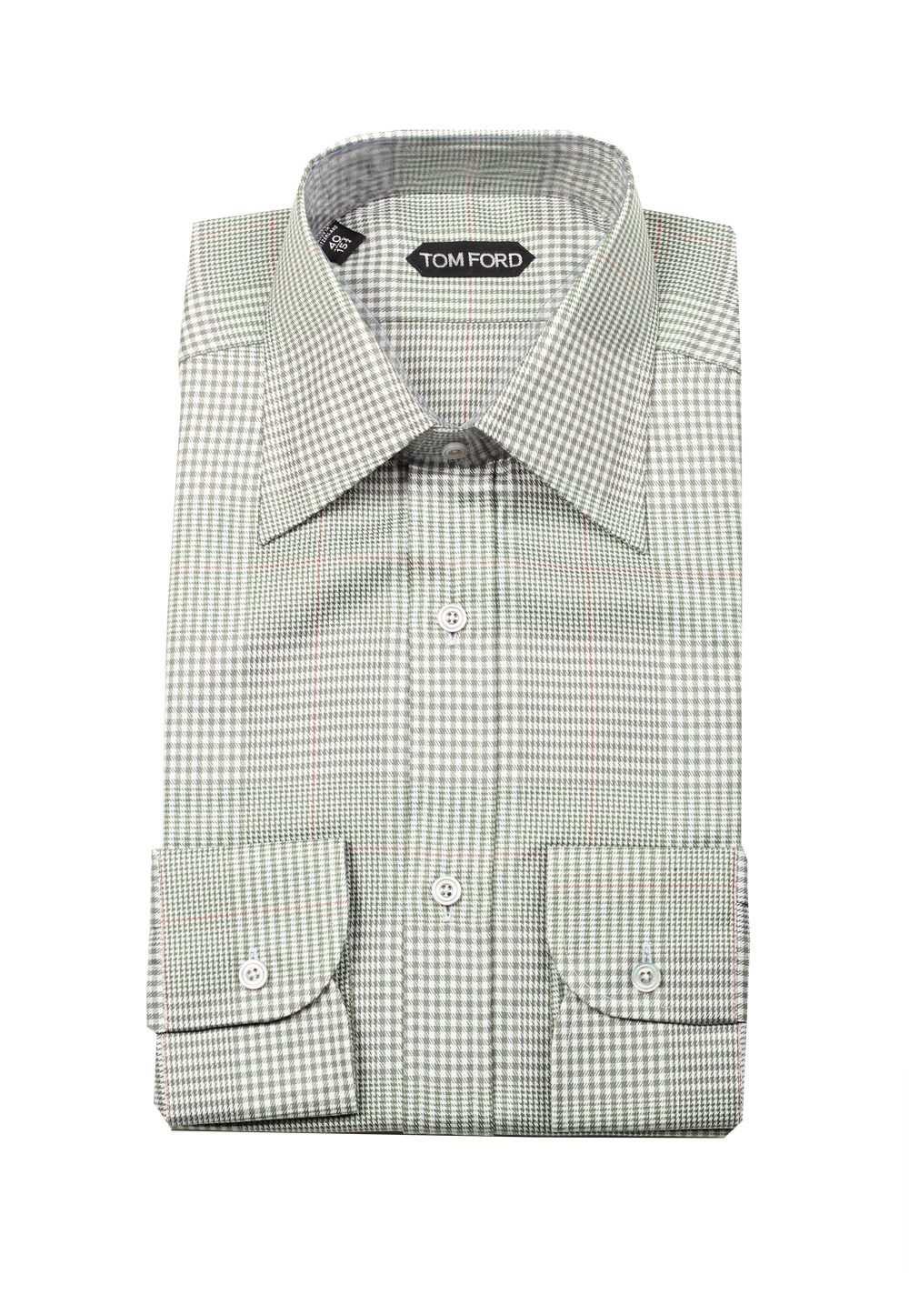 Tom ford checked green dress shirt size 40 15 75 u s for Size 15 dress shirt