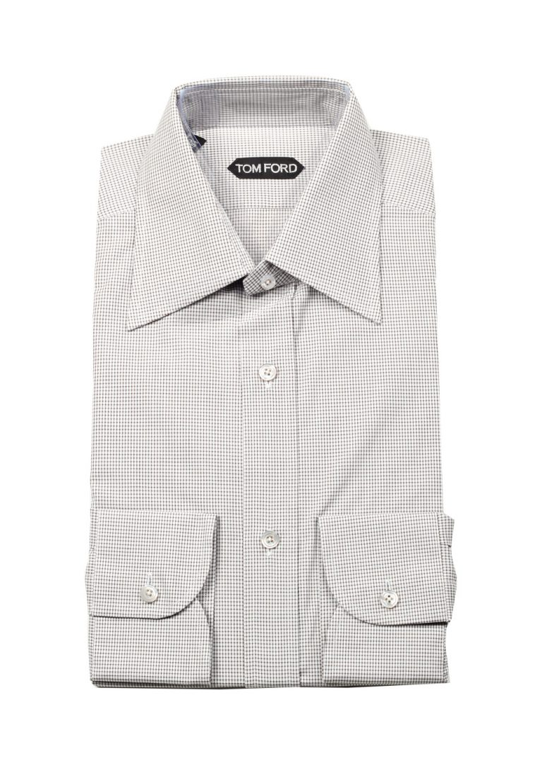 TOM FORD Checked Gray Dress Shirt Size 40 / 15,75 U.S. - thumbnail | Costume Limité