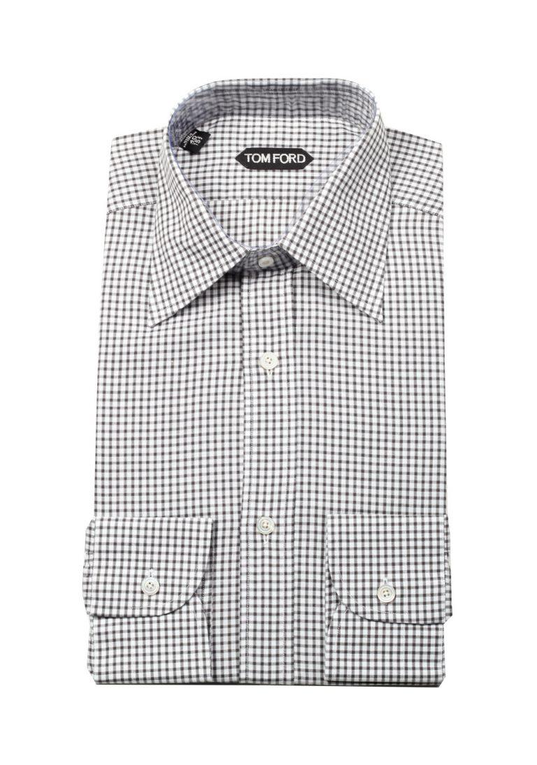 TOM FORD Checked Gray Dress Shirt Size 40 / 15,75 U.S. - thumbnail | Costume Limité