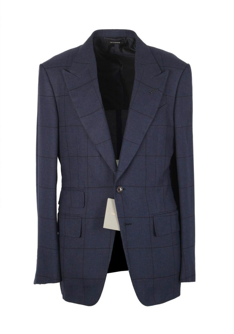 TOM FORD Shelton Checked Blue Sport Coat Size 54 / 44R In Silk - thumbnail | Costume Limité