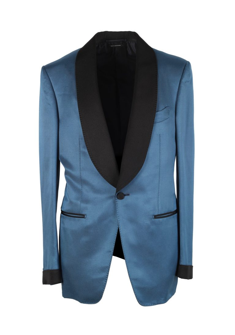 TOM FORD Shelton Blue Tuxedo Dinner Jacket Size 46 / 36R U.S. - thumbnail | Costume Limité