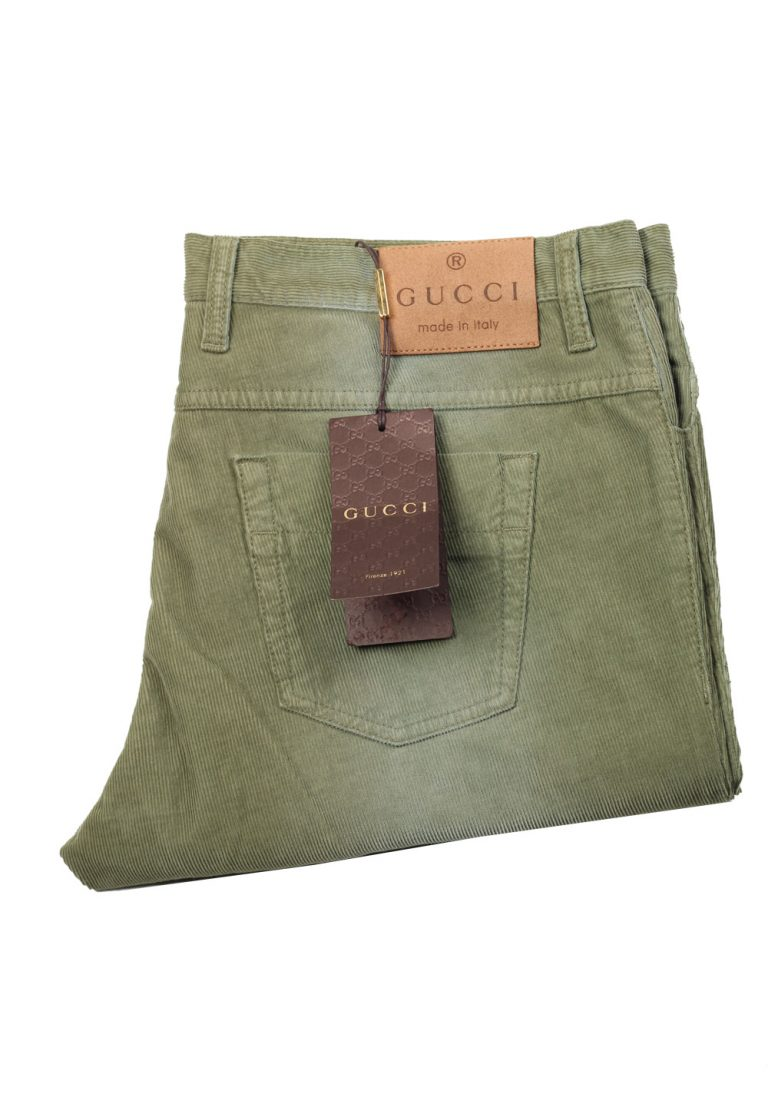 Gucci Green Corduroy Trousers Size 54 / 38 U.S. In Cotton - thumbnail | Costume Limité