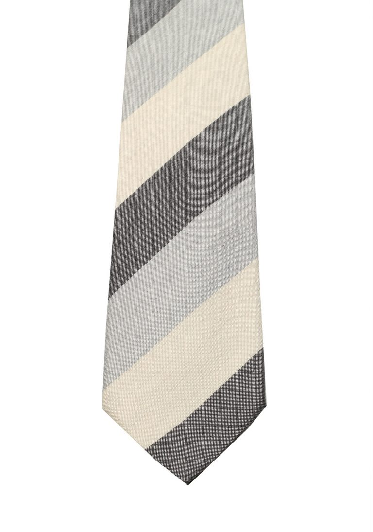 Gucci Gray Patterned Striped Tie - thumbnail   Costume Limité