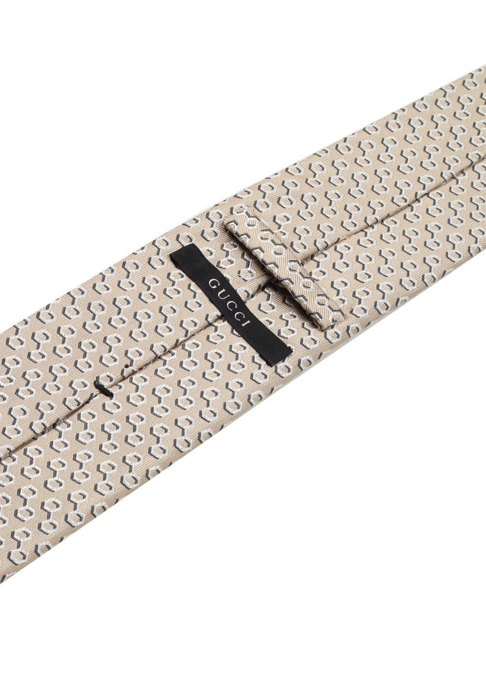 Gucci Beige Patterned Tie | Costume Limité