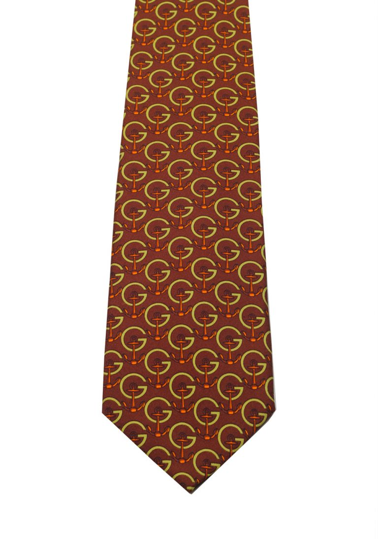 Gucci Brown Patterned Anchor Logo Tie - thumbnail | Costume Limité
